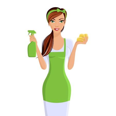 mujer limpiando: Mujer joven ama de casa limpieza con spray y una esponja retrato aislado en fondo blanco ilustración vectorial