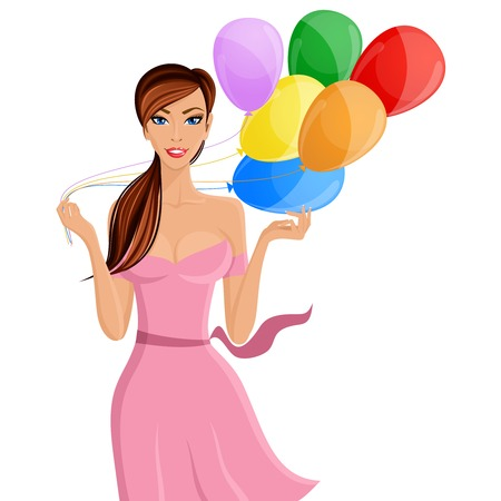 pink dress: Young cheerful woman with colored balloons portrait isolated on white background vector illustration
