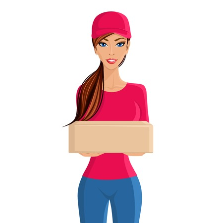 Young woman delivery person with cardboard box portrait isolated on white background vector illustration. Vector