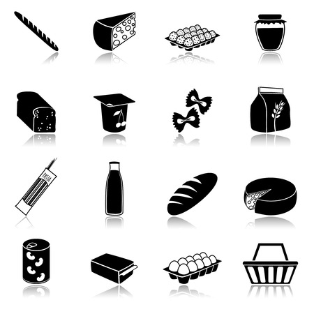chees: Food icons set of bread milk bottle egg box flour pack isolated vector illustration