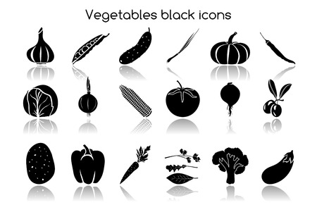 チャイブ: ニンニクチャイブ エンドウ豆キュウリの野菜有機食品黒いアイコン セット分離ベクトル イラスト  イラスト・ベクター素材