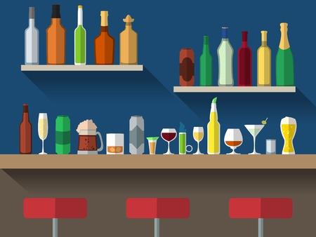 alcool: Bar comptoir avec tabourets et boire de l'alcool sur les tablettes vecteur plat illustration Illustration