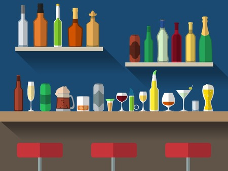 bar counter: Bar counter with stools and alcohol drink on shelves flat vector illustration