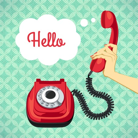 telephone line: Hand holding old telephone retro poster vector illustration