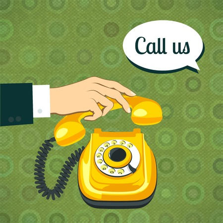 Male hand in suit holds classic old yellow telephone retro poster vector illustration Vector