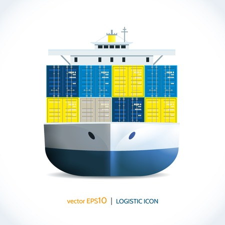 seaport: Logistic shipping realistic ocean container ship transport isolated on white vector illustration Illustration