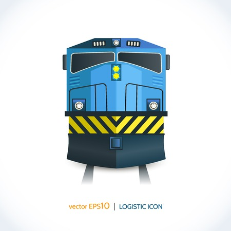 freight train: Logistic shipping realistic train front icon isolated on white vector illustration.