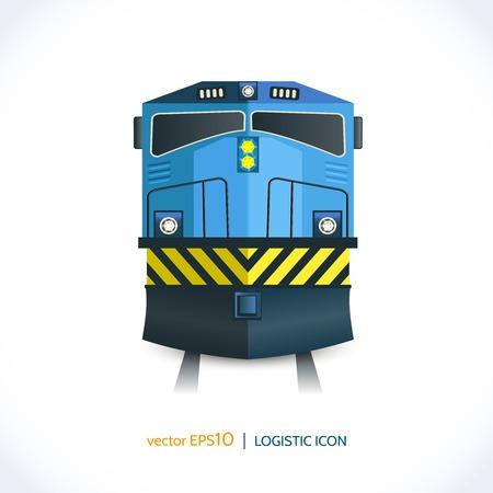 Logistieke verzending realistische trein pictogram voorzijde geïsoleerd op wit vector illustratie.