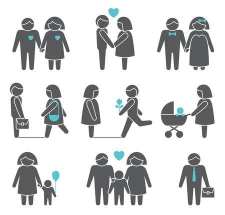 family isolated: Women and men family figures icons set of parents children couple isolated vector illustration
