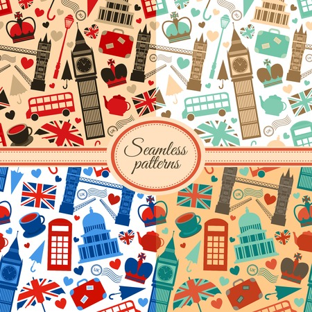 Collection of seamless patterns with London landmarks and Britain symbols vector illustration Vector