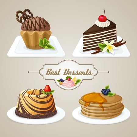 Decorative sweets food dessert set of muffin pan layered cake brioche vector illustration Vector