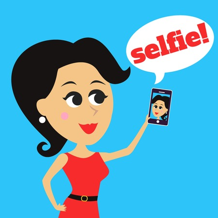 mobile cartoon: Cute pretty girl takes selfie makes self portrait with mobile phone vector illustration Illustration