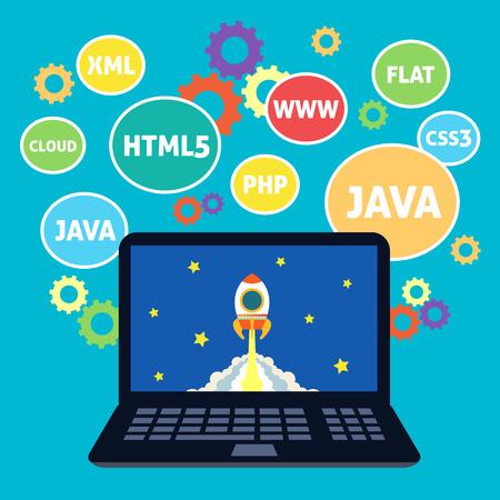 Websites web design xml java html5 coding computer concept vector illustration