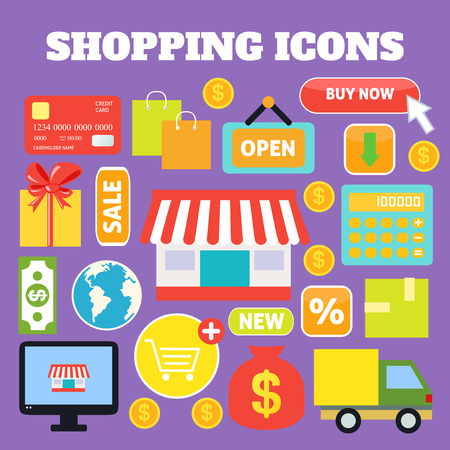 supermarket cash: Shopping decorative icons set with plastic card money bags isolated vector illustration