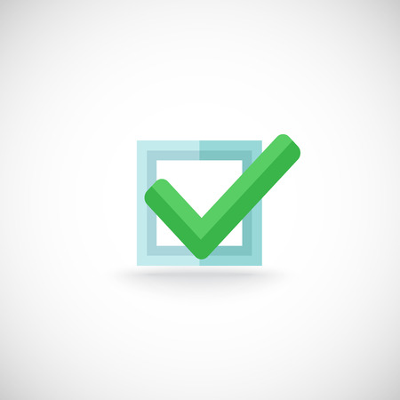 checkbox: Decorative blue square contour checkbox green color tick approval confirmation chek mark internet symbol pictogram vector illustration