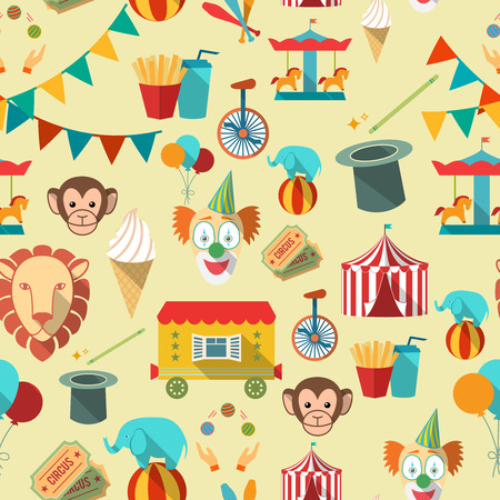Decorative vintage travelling circus chapiteau tent with clown magical wand seamless tileable wrap paper pattern vector illustration Vector