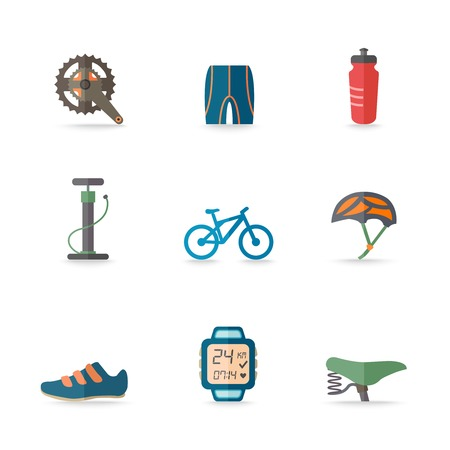 helmet seat: Bicycle bike sport fitness flat icons set with hand pump seat helmet isolated vector illustration