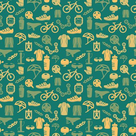 自転車自転車スポーツ フィットネス シームレス パターン背景ベクトル イラスト
