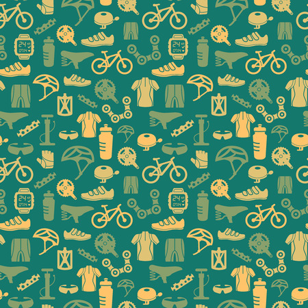 bicycle gear: Bicycle bike sport fitness seamless pattern background vector illustration