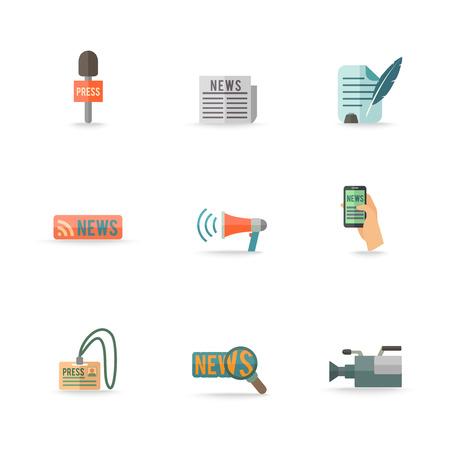 media center: Social media mobile  press center reporter symbols emblems design pictograms collection isolated icons set flat vector illustration. Editable EPS and Render in JPG format Illustration