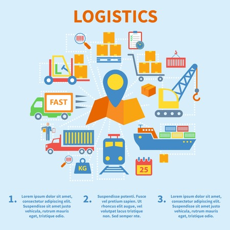 paper chain: Logistic infographic flat icons set with map pin vector illustration