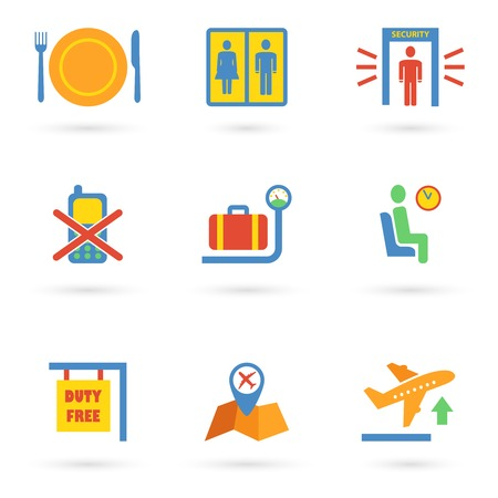 Airport icon flat set of baggage waiting lounge security check isolated vector illustration Vector