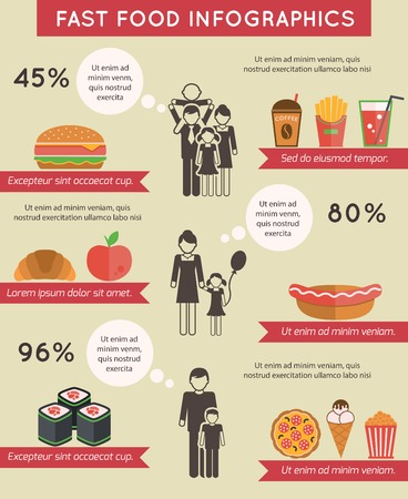 Fast food infographic flat icons set of pizza chocolate apple spaghetti isolated vector illustration Vector