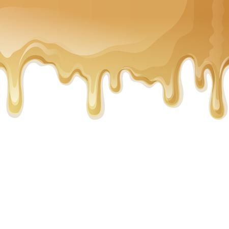 caramel: Sweets dessert food melted caramel drips background vector illustration