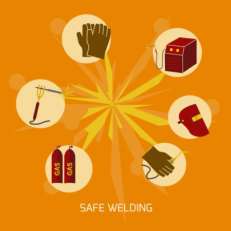 weld: Welder industry construction work protection safety elements concept flat icons vector illustration