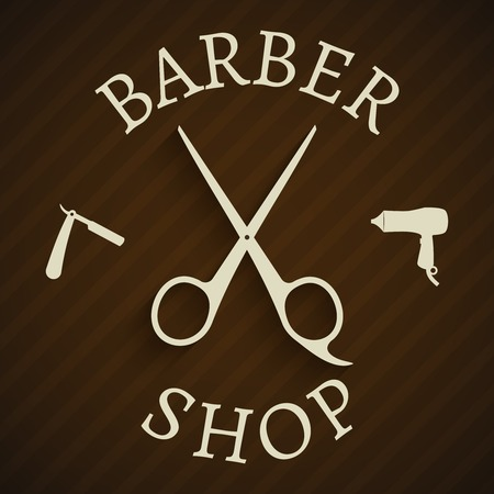 hairstylist: Hairdresser barber shop poster with razor and hair-dryer vector illustration Illustration