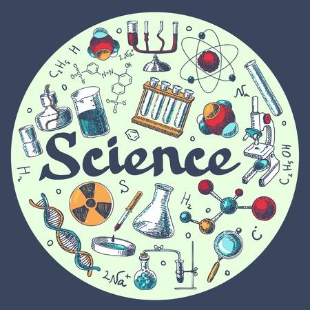 biologia molecular: Qu�mica investigaci�n cient�fica composici�n tubos microscopio con elementos de equipos de biolog�a molecular ronda ilustraci�n plantilla doodle de dibujo vectorial Vectores