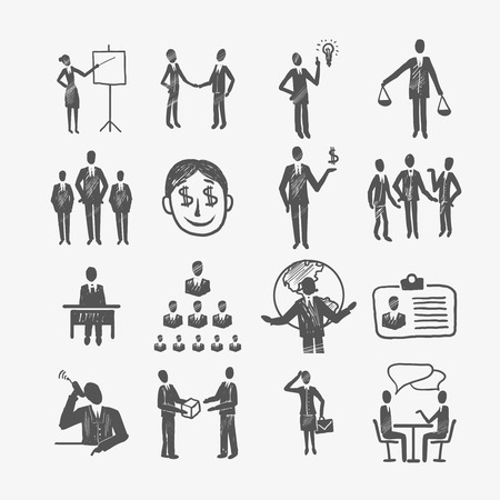 Sketch business organization management structure meeting people icon set isolated doodle vector illustration Illustration