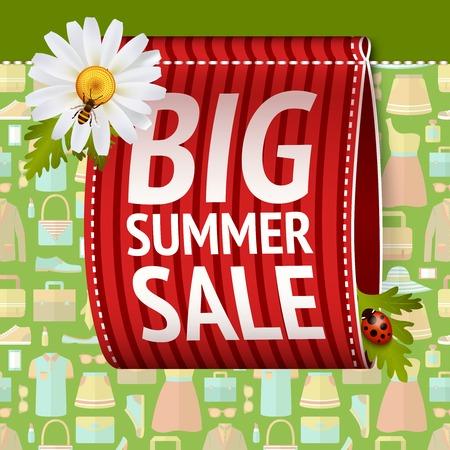 describe: Big summer sale size label ribbon set on clothing background vector illustration