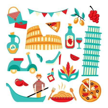 gondolier: Italy decorative elements set of pizza spaghetti pisa tower isolated vector illustration