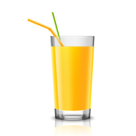 half full: Realistic glass full of orange juice drink with cocktail straw isolated on white background vector illustration