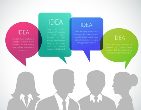 business team meeting: Business meeting concept with people silhouettes and idea speech bubbles vector illustration