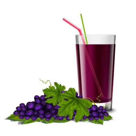 glass half full: Realistic glass full of juice drink with cocktail straw and grape branch isolated on white background vector illustration
