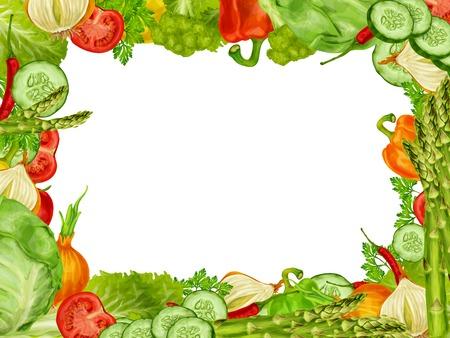voedingsmiddelen: Groente organisch frame set van chili peper broccoli komkommer vector illustratie. Stock Illustratie