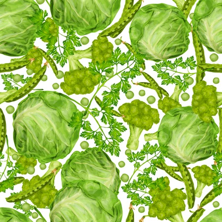 green vegetable: Green vegetable organic food seamless pattern with cabbage parsley peas vector illustration. Illustration