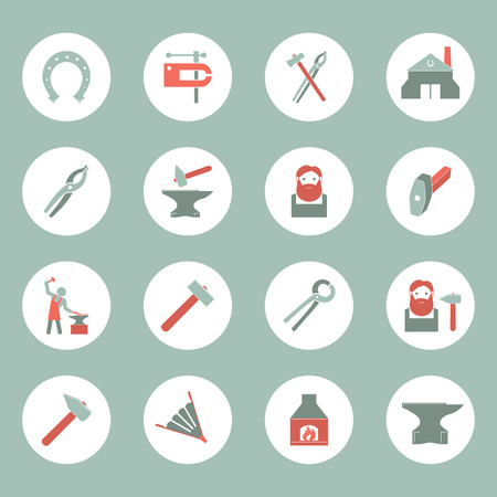Dcorative blacksmith shop anvil cast iron tongs and horseshoe solid round plate pictograms collection isolated vector illustration Illustration