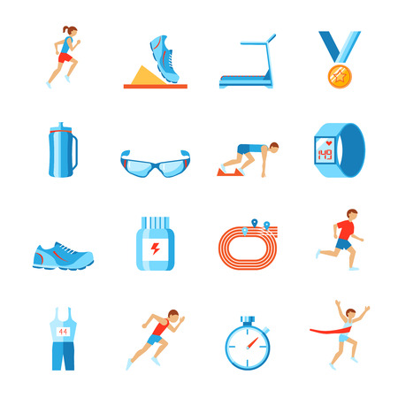 treadmill: Running race sport activity flat set of fitness clothes shoes and runner icons isolated vector illustration