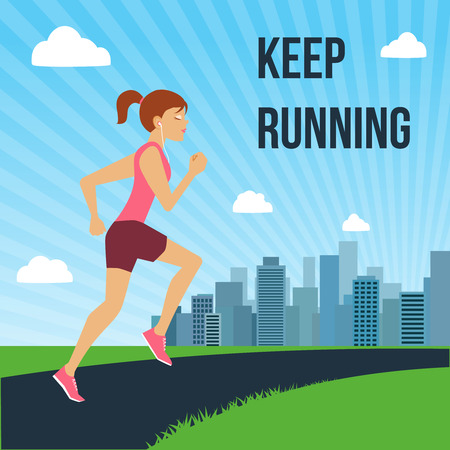 keep fit: Running jogging attractive woman on city skyline background poster vector illustration