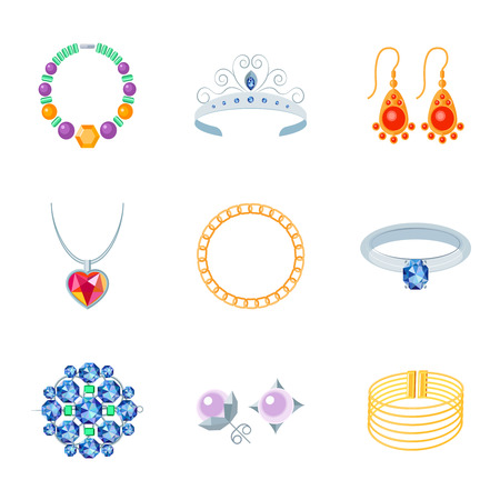 Jewelry flat icons set of necklace tiara earrings isolated vector illustration Vector