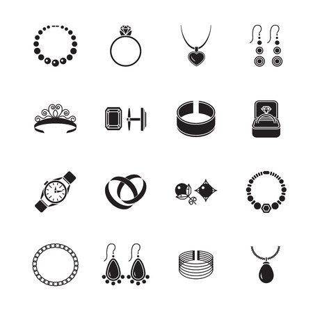 Jewelry black icons set of diamond gold fashion expensive accessories isolated vector illustration. Vector