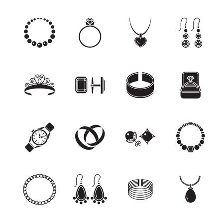 Sieraden zwarte pictogrammen set van diamant goud mode dure accessoires geïsoleerd vector illustratie. Vector Illustratie