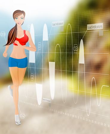 sexy shorts: Full length portrait of young sexy attractive young running jogging woman on technology background vector illustration