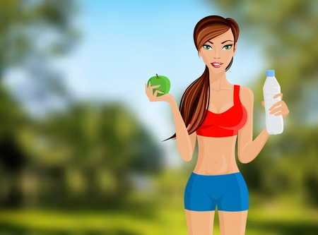 hot pants: Young slim sport fitness girl with apple and water bottle portrait on outdoor background vector illustration