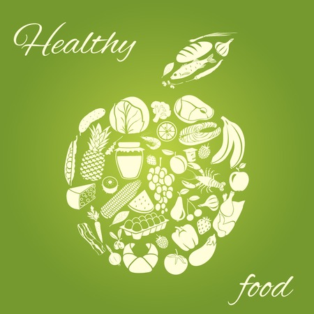 Apple made of fruits vegetables meat and grocery healthy organic food concept vector illustration