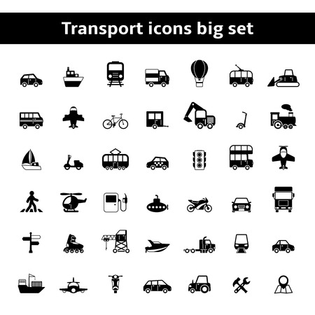 cargo transport: Set of universal transportation vehicles pictograms for mobile app or infographics presentation isolated vector illustration