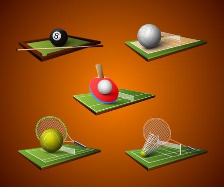 ping pong: Realistas iconos deporte emblema juego de tenis de mesa de billar aislado bádminton voleibol ilustración vectorial